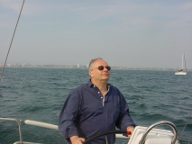 John at the Helm of Frank Gehry's yacht off Long beach California